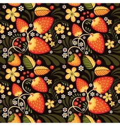 Strawberry and flowers in khokhloma style vector
