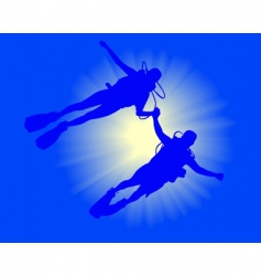 two divers vector image