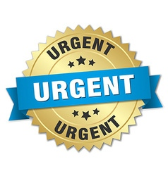 Urgent 3d gold badge with blue ribbon vector