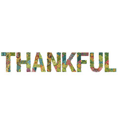 Word thankful with falling leaves vector