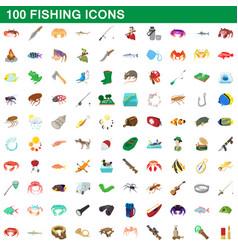 100 fishing icons set cartoon style vector