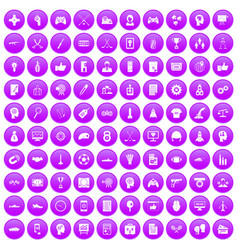100 strategy icons set purple vector