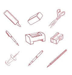 Hand-drawn office equipment icons vector