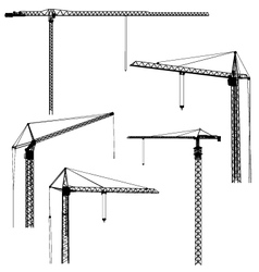 silhouettes of construction crane tower vector image