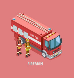 Profession fireman isometric template vector