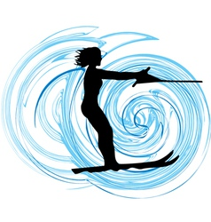 Water skiing woman vector