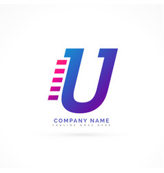 Speeding letter u logo design vector