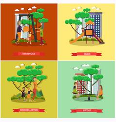 Set of kindergarten kids posters in flat vector