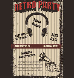 Retro party poster template vector