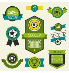 Sports ribbons labels and badges with soccer vector