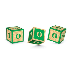 number 0 wooden alphabet blocks vector image