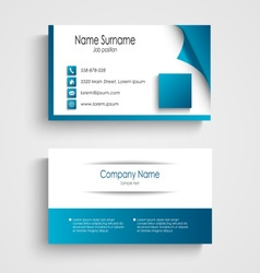Business card modern blue and white template vector