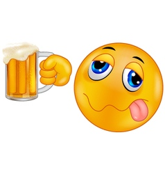 Smiley emoticon holding beer vector