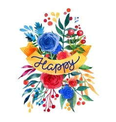 Watercolor flower card beautiful floral greeting vector
