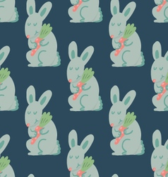 Cute rabbit holding carrot seamless pattern vector