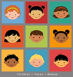 set cute faces ethnic children flat style vector image