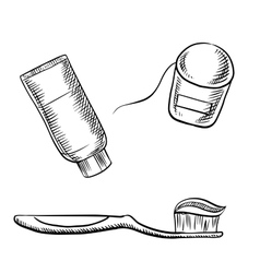 Toothpaste toothbrush and dental floss vector