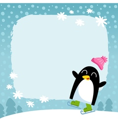 Penguin winter snowy background vector