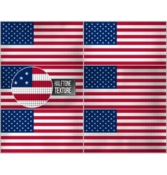Set of american flags in dirty retro style with vector