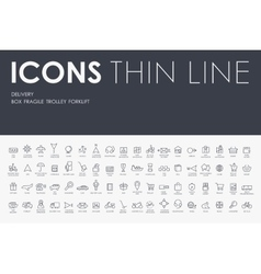 Delivery thin line icons vector