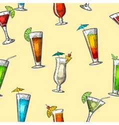 Seamless pattern alcohol cocktail set vector