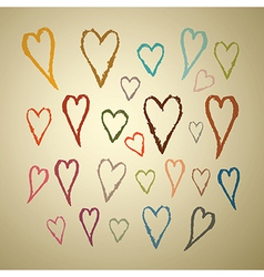 Abstract Hand Drawn Hearts Set on Paper Background vector image