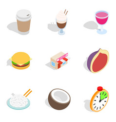 Bakery cooking icons set isometric style vector