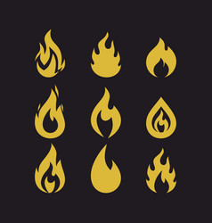 Big set of flames vector