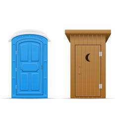 Bio and wooden outdoor toilet vector