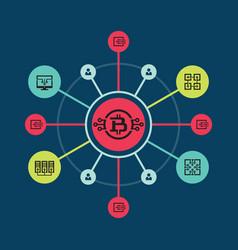 Bitcoin blockchain modern technology vector