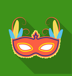 Brazilian carnival mask icon in flate style vector