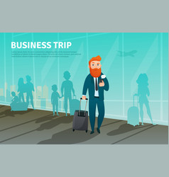 businessman in airport poster vector image vector image