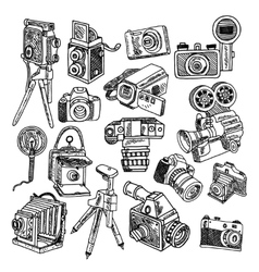 Camera doodle sketch icons set vector