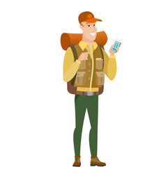 caucasian traveler holding a mobile phone vector image vector image
