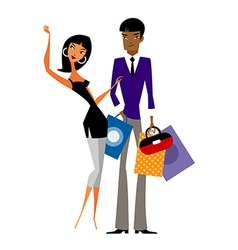 Couple with shopping bags vector image vector image