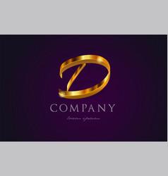 D gold golden alphabet letter logo icon design vector