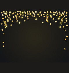 Falling gold confetti against a dark background vector
