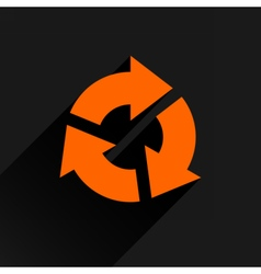 Flat orange arrow icon reset repeat sign vector