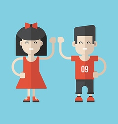 Flat Style Cartoon Characters Girl and Boy vector image vector image