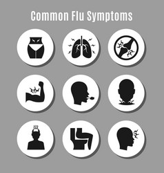 Flu influenza sickness symptoms icons vector