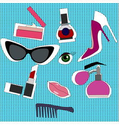 hand drawn fashion set vector image