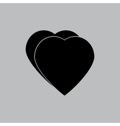 Hearts icon in a flat design in black color vector image vector image
