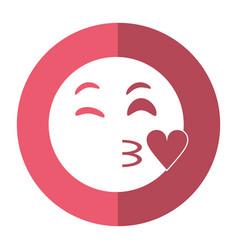 Kiss love emoticon funny shadow vector