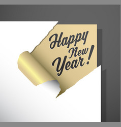 Paper corner cut out with happy new year wishes vector