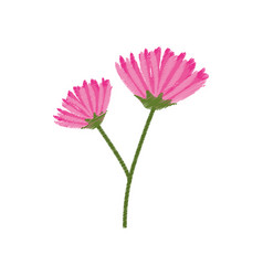 Pink flower spring sketch vector