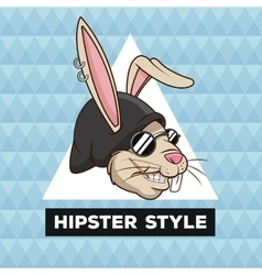 Portrait fun rabbit hipster style furry geometric vector
