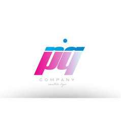 pq p q alphabet letter combination pink blue bold vector image vector image
