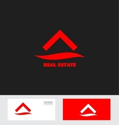 Red real estate house roof logo icon vector