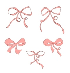 Set of hand drawn pink bow vector image