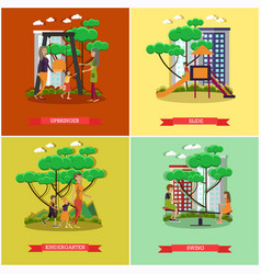 set of kindergarten kids posters in flat vector image